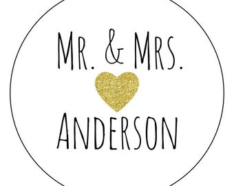 custom gold heart wedding stickers, mr. and mrs. labels, gold glitter heart stickers, personalized gold wedding labels, wedding date label