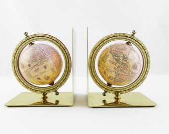 Globe Bookends - Brass 90 Degree Bookends With Globes Attached - Spinning Globes - Bookends - Baseball-size Paper Globes