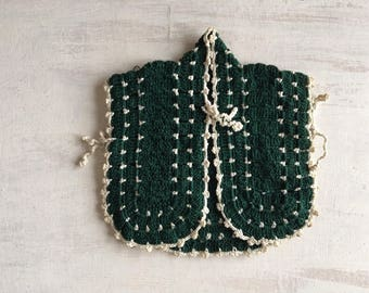 Vintage Green Crochet Little Jacket Potholder