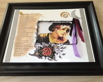 RHIANNON'S SONG, Stevie Nicks, song,  lyric, poem, word, art, mixed media collage, scrapbook art, assemblage, Gypsy, Moon Goddess,