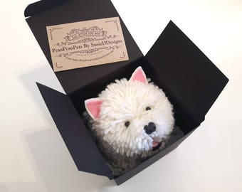 Westie West Highland Terrier Dog Handmade with British Wool Pom Pom Pets by SusieDDesigns Collectable Animal Gifts