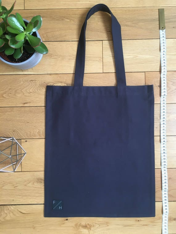 Heavyweight slate grey/blue brushed cotton Tote Bag with zip compartment