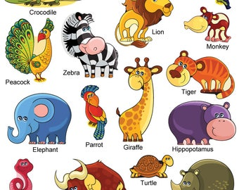 GET STICKING DÉCOR® Cute jungle safari animals wall stickers/ wall decals collection, safr.3. (Large)