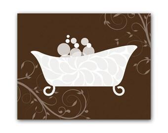 Bathroom Canvas or Print, Bathroom Wall Art, Brown Bathroom Decor, Home Decor, Bathtub Art, Home and Living Wall Decor - BATH46