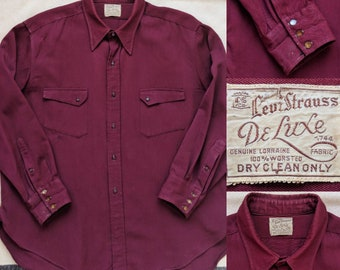 1930's Levi's Oxblood Collared Shirt - Levi Strauss DeLuxe Button Up Long Sleeve Western Size XL or XXL - 1930s 30s 30's Rare Vintage Men's