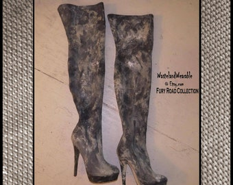 Post Apocalyptic BOOTS Black faux LEATHER Boots  THIGH HiGH Fallout Boots Size 6.5