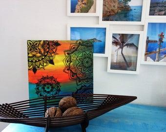 Canvas Picture Mandala Acrylic Boho Art Colorful