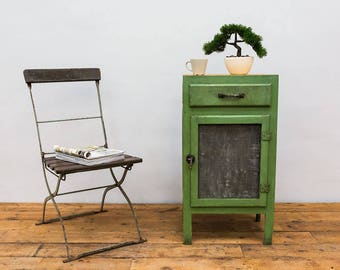 Antique Zinc and Wood Cabinet in Green