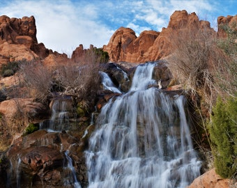 Faux Falls.  Waterfall in the Southwest. Moab, Utah. Photograph.  Digital Download.