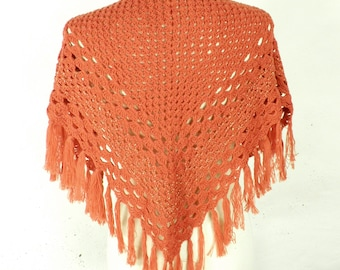 1980s Short Dark Orange Hand Crocheted Wool Fringed Shawl  Free Size Boho Hippy Festival Gypsy