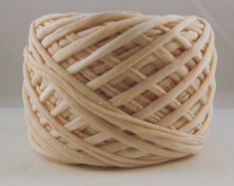 T-Shirt Yarn, Hand Dyed, Light Beige, 60 Yards, Cream Yarn, Off White Yarn, Jersey Yarn, Cotton Yarn, T-shirt Yarn, Tshirt Yarn