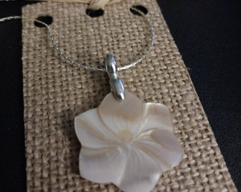 Silver Plated Carved Pink Mother of Pearl Plumeria Flower Pendant Necklace