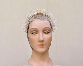 Vintage 1930s Wax Flower Headband / Flapper Era Bridal Tiara
