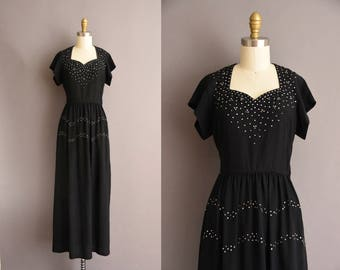 vintage 1940s black rayon rhinestone covered full length party dress XS Small 40s black dress