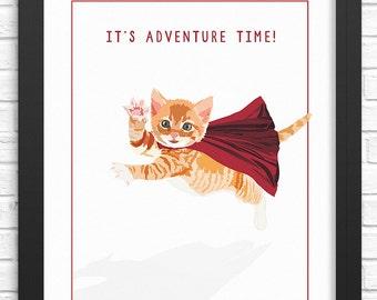 Adventure Cat Wall Art. Illustrated cat art print. Cat decor for all ages. Funny art print. Kitten artwork.