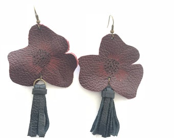 Floral Leather long dangling earrings with black tassels