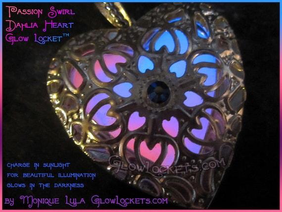 Passion Swirl Silver Dahlia Heart Glow Locket