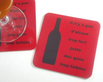 Alcohol man coasters gift there is not too strong alcohol just people too weak humorous coaster funny coaster