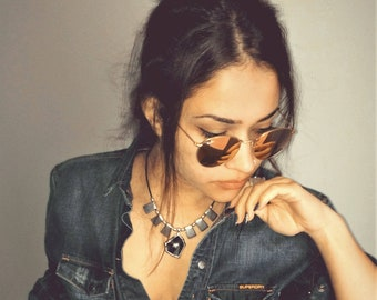 Swarovski asymmetric leather - metal necklace, statement trimmed Swarovski choker, silver beads necklace, valentines gift, mothers gift