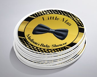 Boy Baby Shower Stickers, Baby Shower Labels, Baby Shower Favors, Little Man Party, Bow Tie