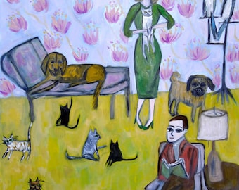 At home with the Andersons. Limited edition print by Vivienne Strauss.