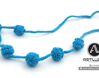 Turquoise Irisbo, Crochet necklace, Necklace in natural fibers, Handmade knitted necklace