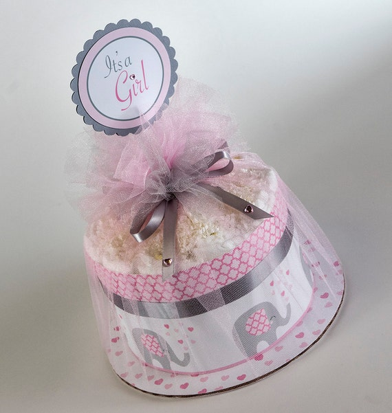 """The  """"Little Elephant"""" Mini Diaper Cake. Baby Shower Centerpiece or Gift."""