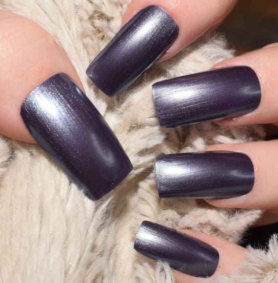 Duo Chrome Fake Nails, Purple Blue Nails Long Straight False Nails ...