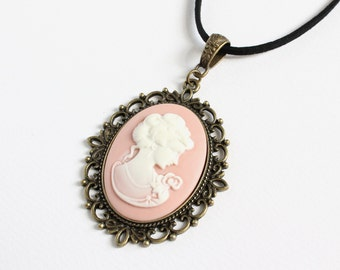 Large Pink Cameo Necklace
