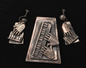 Vintage Brooch or Pendant & Earring Set ~ Piano Theme