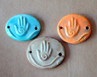 3 Handmade Ceramic Beads - Hamsa Bracelet Beads in Summer Colors - Stoneware Link Beads - Rustic Cuff Connectors in  Stoneware