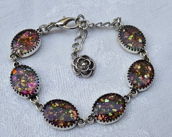 """Bracelet """"stained glass"""" resin inclusion, purple yellow blue and copper, mother of Pearl and copper foil"""