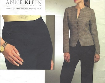 Anne Klein Womens Below Waist Jacket and Contour Waist Pants OOP Vogue Sewing Pattern V1064 Size 16 18 20 22 Bust 38 40 42 44 FF