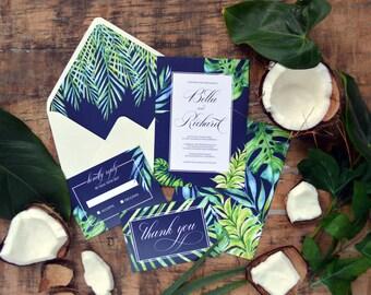 Tropical Destination Printable Wedding Invitation Suite,Navy Blue, Leaves, Invitation Set, Invitation Suite, Calligraphy Wedding Invites