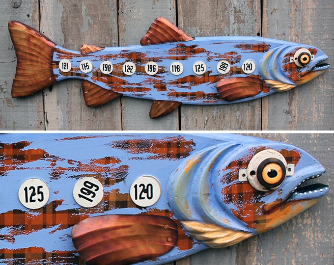 "37"" Farmer Trout, wood and metal fish sculpture, fun fish wall art, Colorful Folk Art Fish,Lodge decor,handcrafted in Vermont, unique gift"