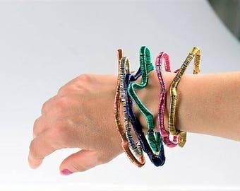 Bangle bracelet, modern bracelet, wire bracelet, pink bracelet, abstract art jewelry, hippie, adjustable bangle, Summer Unique gift women