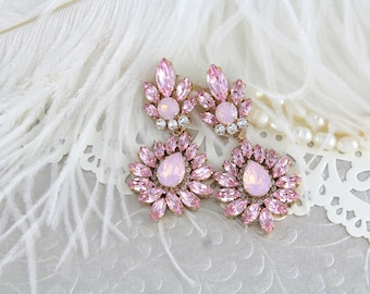 Rose gold earrings, Bridal earrings, Pink opal earrings, Bridal jewelry, Swarovski earrings, Chandelier earrings, Statement Wedding earrings