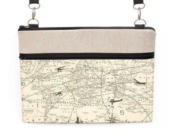 "Macbook 13"" Travel Bag, iPad Pro 12.9 Shoulder Bag, Air Traffic MacBook Crossbody Bag, Planes Laptop Zipper Tote Bag - vintage world map"