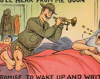 VINTAGE  POSTCARD, war-time comic linen,  SALE ! collected by junqueTrunque