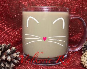 Cat//Meow//Whiskers//Glass Coffee Mug