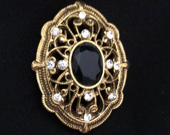 1960's Vintage Gold Pin/Brooch with 1 Black and Clear Rhinestones