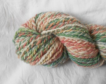 Coral/green/white Handspun Yarn
