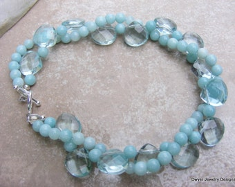 Amazonite and Aqua Quartz Bracelet.