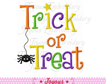 Instant Download Halloween Trick Or Treat Applique Embroidery Design NO:1594