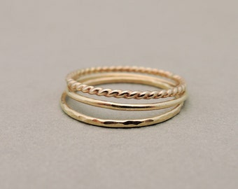 SUPER Thin Gold Rings minimalist jewellery three stacking rings knuckle rings, midi rings or thumb rings