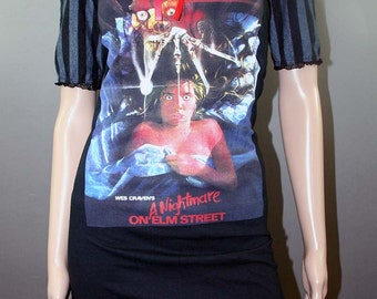Nightmare on Elm Street Striped Horror Movie Dolly Dress Freddy Krueger Halloween Gothic Horror Merch 80s Slasher Grunge Wednesday Addams