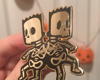 Bart and Hugo Conjoined Twins GOLD Enamel Pin