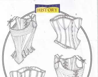 Historical Renaissance Medieval Laced Up Boned Corsets Stays Bustiers Butterick 4254 Size Costume Sewing Pattern 12 14 16