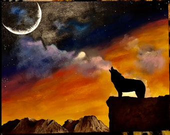 Acrylic landscape silhouette painting