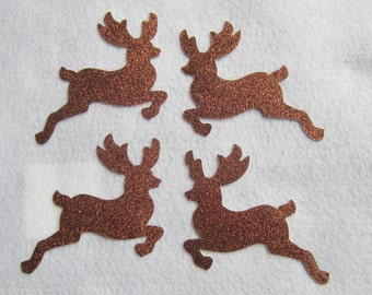 Glitter Reindeer-Iron-On-Reindeer Appliques-Christmas Cards-Glitter Heat Transfer-Iron-On Vinyl Applique-Reindeer Shapes-DIY Christmas Gift